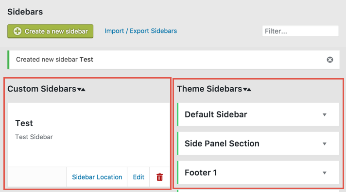 Custom Sidebar Options