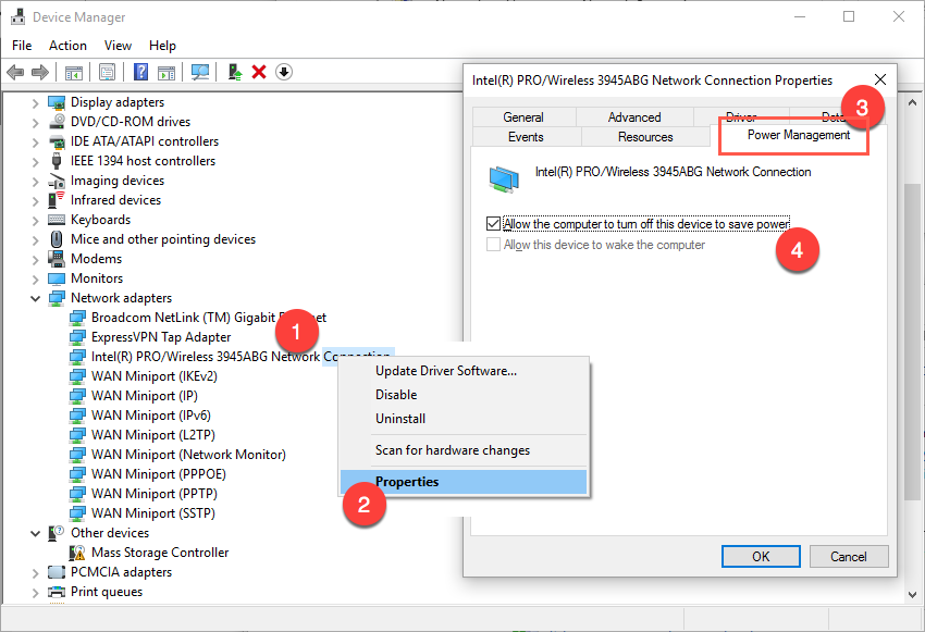 Disable Power Management in Windows 10