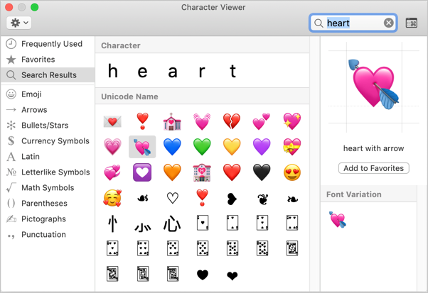 Heart Symbols in Mac Character Viewer