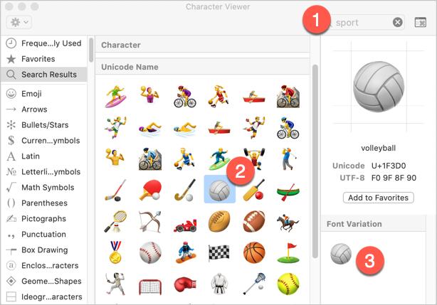 Insert Sport and Game Emoji in Mac