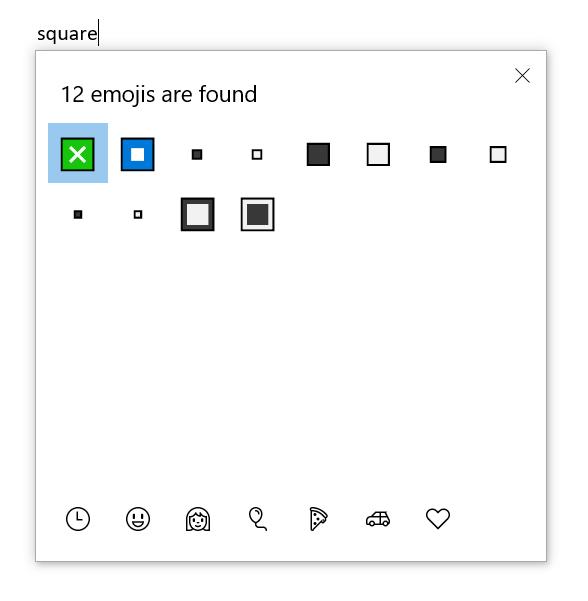 Square Emoji in Windows 10