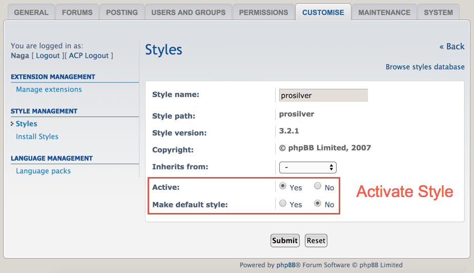 Activating Style in phpBB Forum
