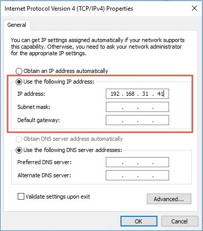 Change IP Address in TCP:IPv4 Properties