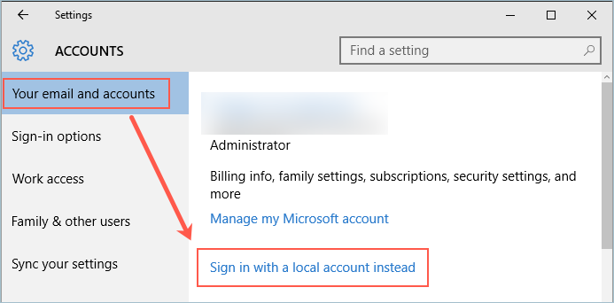Create Local Account in Windows 10