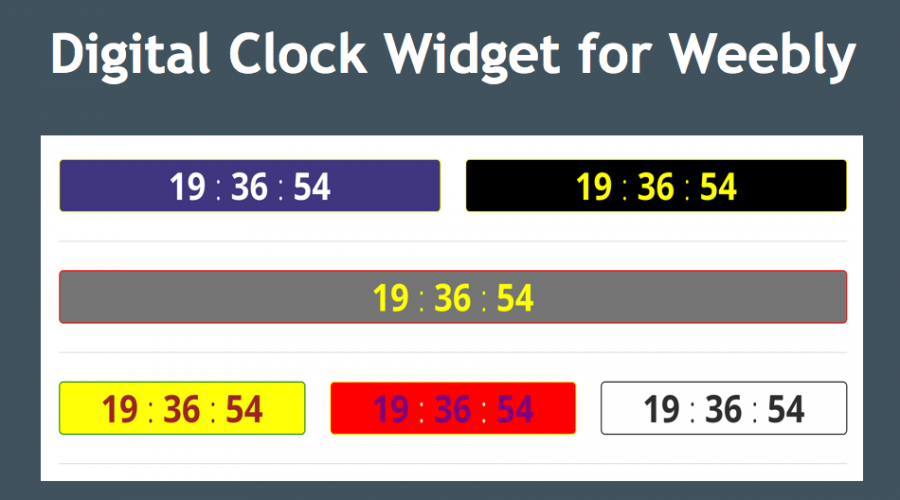 Simple Digital Clock Widget for Weebly