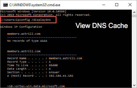 Display DNS in Window