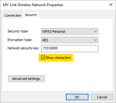 Enable Show Characters to View Wi-Fi Password