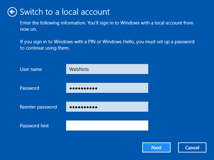 Enter Local Account Details