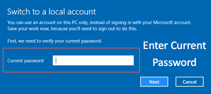 Enter Password to Switch to Local Account