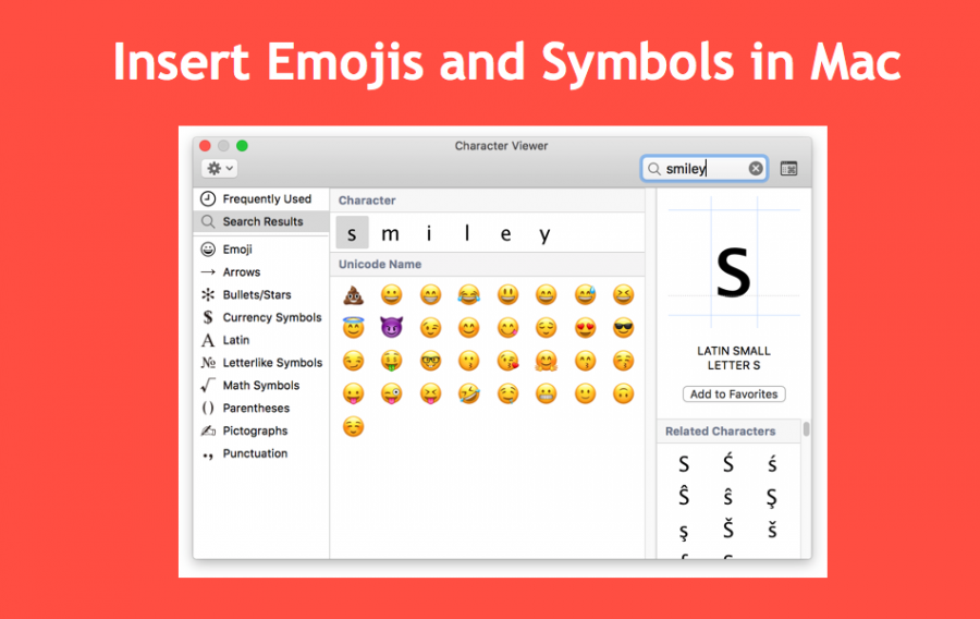 Insert Emojis and Symbols in Mac