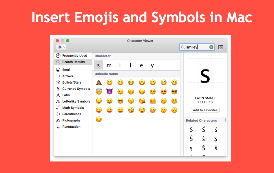 Insert Emojis and Symbols in Mac 😡🤪😍🤓🧐🤩