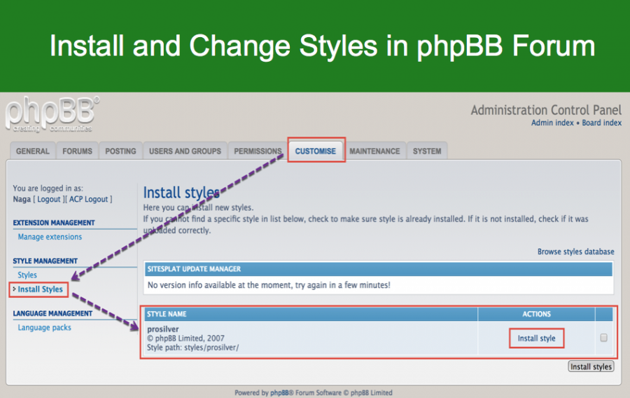 Install and Change Styles in phpBB Forum
