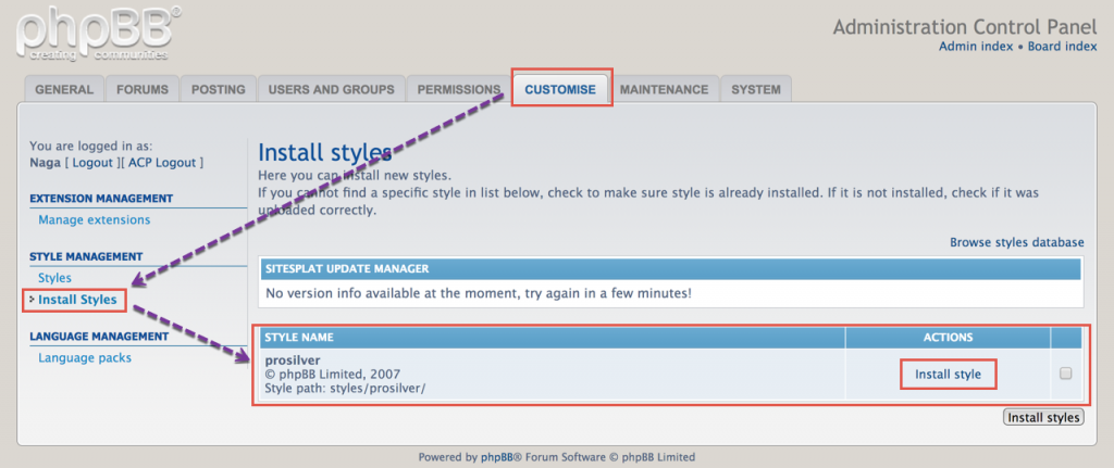 Installing Style in phpBB Forum
