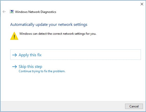 Networks Diagnostics Window
