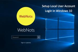 Setup Local User Account Login in Windows 10