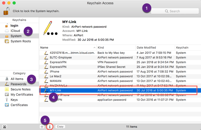 Using Keychain Access to Find Wi-Fi Password in Mac