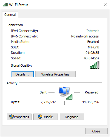 View Network Connection Status