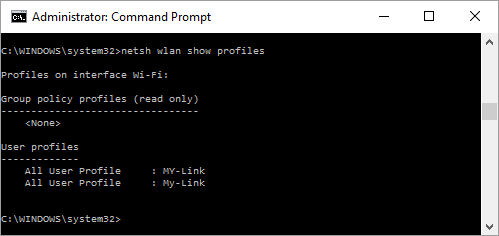 View W-Fi Profile Names in Command Prompt