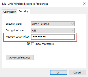 View Wi-Fi Security Key Under Security Tab