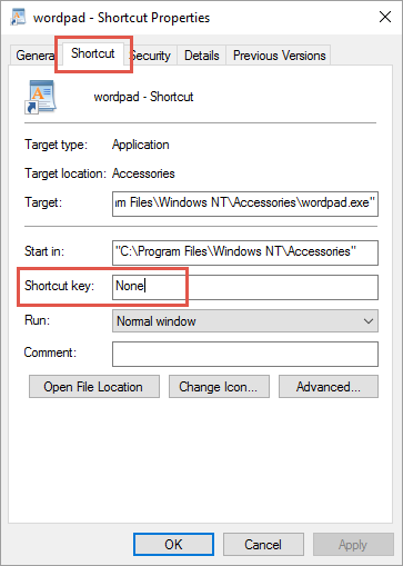 Viewing Shortcut Key
