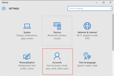 Windows 10 Account Settings