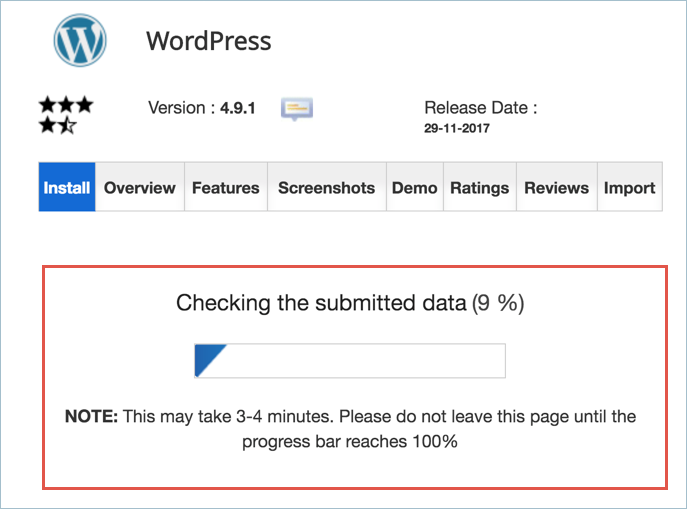 WordPress Installation Progress Status