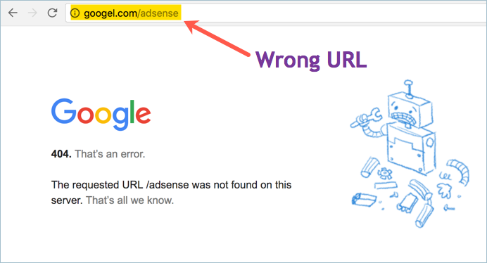 404 Page Not Found Error in Google