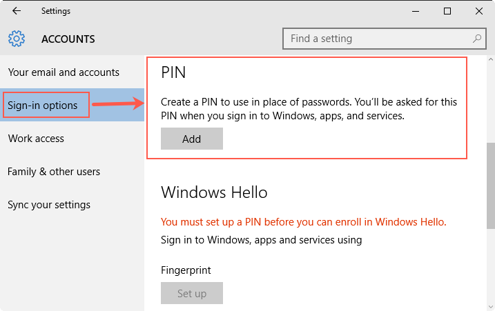 Add PIN in Windows 10