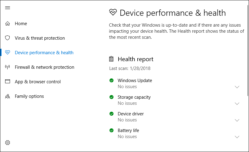 Check Device Performance and Health