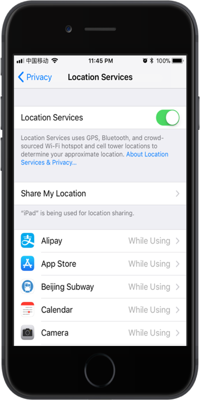Disable Location Services in iPhone