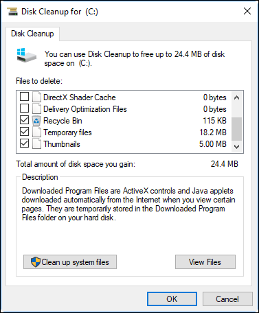 Disk Cleanup Option in Windows 10