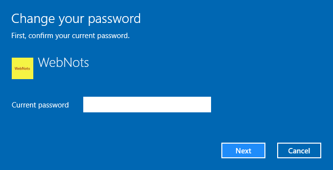 Enter Current Password for Changing Password