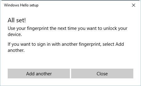 Finger Print Setup Successful
