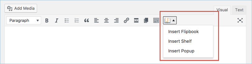 Flipbook Icon in WordPress Post Editor