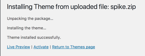 Install Theme from Uploaded File