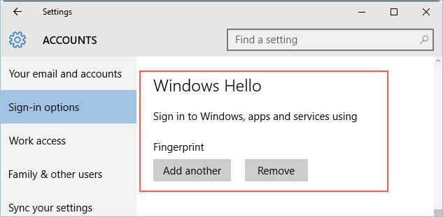 Remove Fingerprint Setup