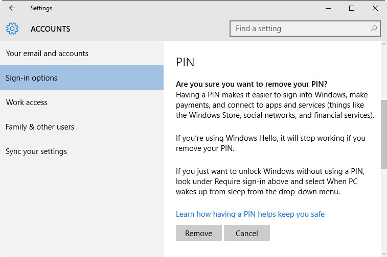 Confirm Remove PIN Password