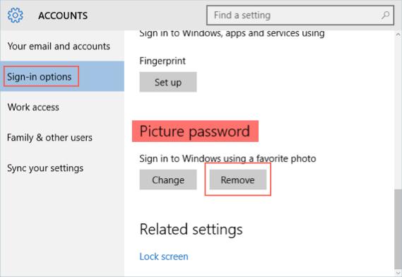 Remove Picture Password