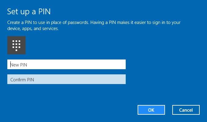 Set up a PIN Password
