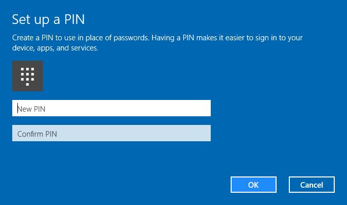 Set up a PIN Password