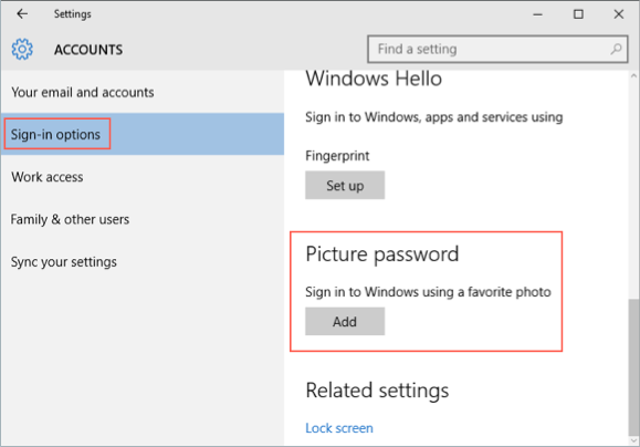 Setting Up Picture Password