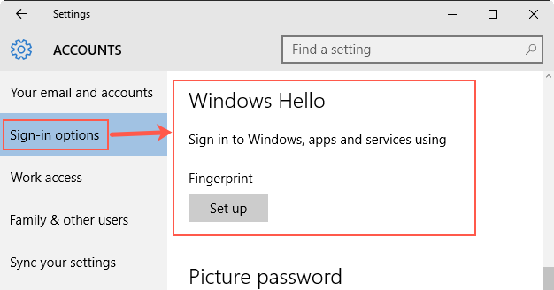 Setup Windows Hello