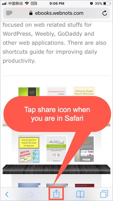 Share Webpage in Safari