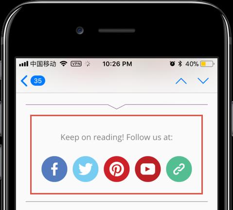 Social Links in Email Newsletter