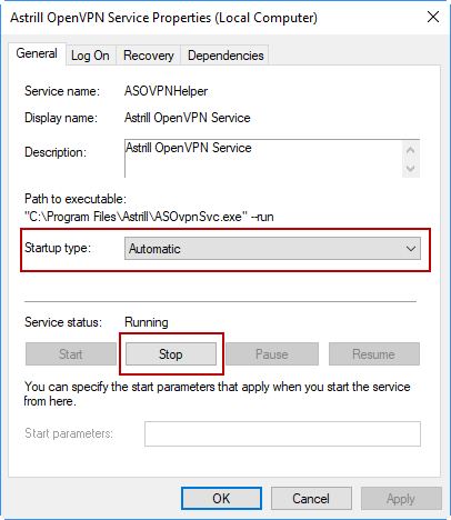 Stopping Service in Windows 10