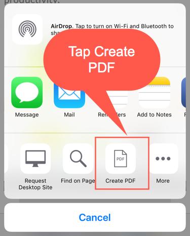 Tap Create PDF