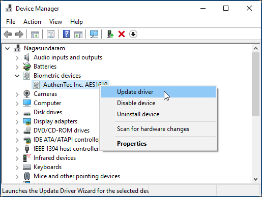 Update Driver in Windows 10