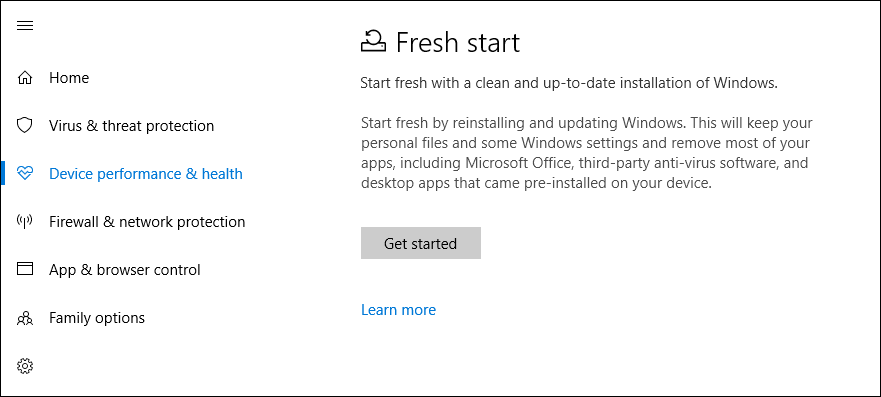 Windows 10 Fresh Start Option