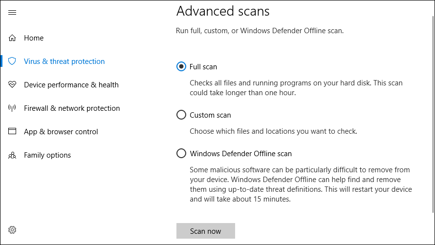 Windows Defender Offline Scan to Remove Malware