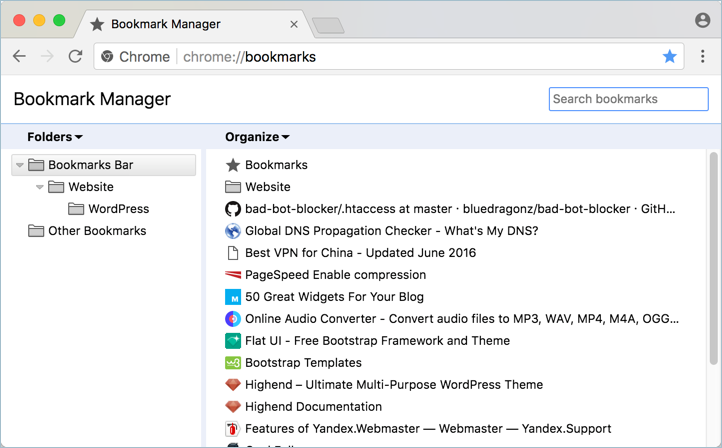 Chrome Old Bookmarks View
